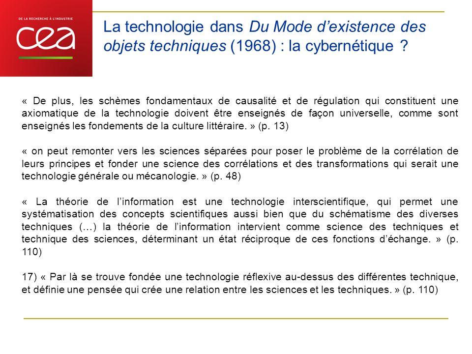 La technologie dans Du Mode d'existence des objets techniques (1968) : la cybernétique