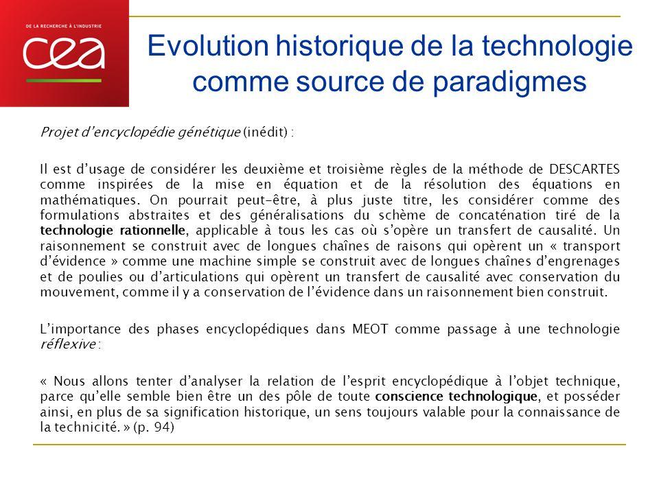 Evolution historique de la technologie comme source de paradigmes