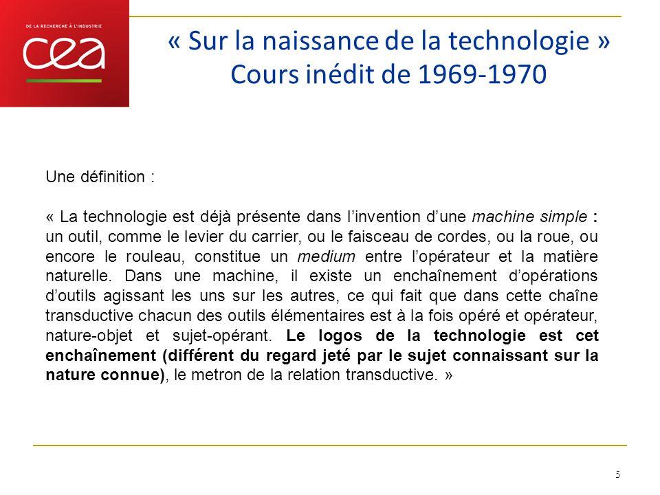 « Sur la naissance de la technologie » Cours inédit de 1969-1970