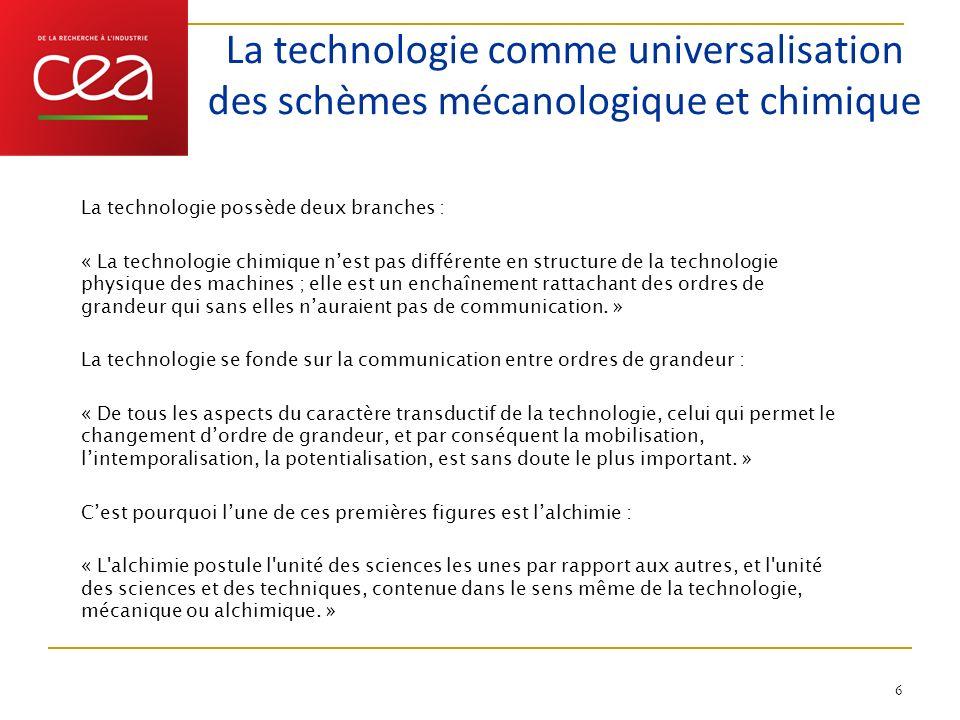 La technologie comme universalisation des schèmes mécanologique et chimique