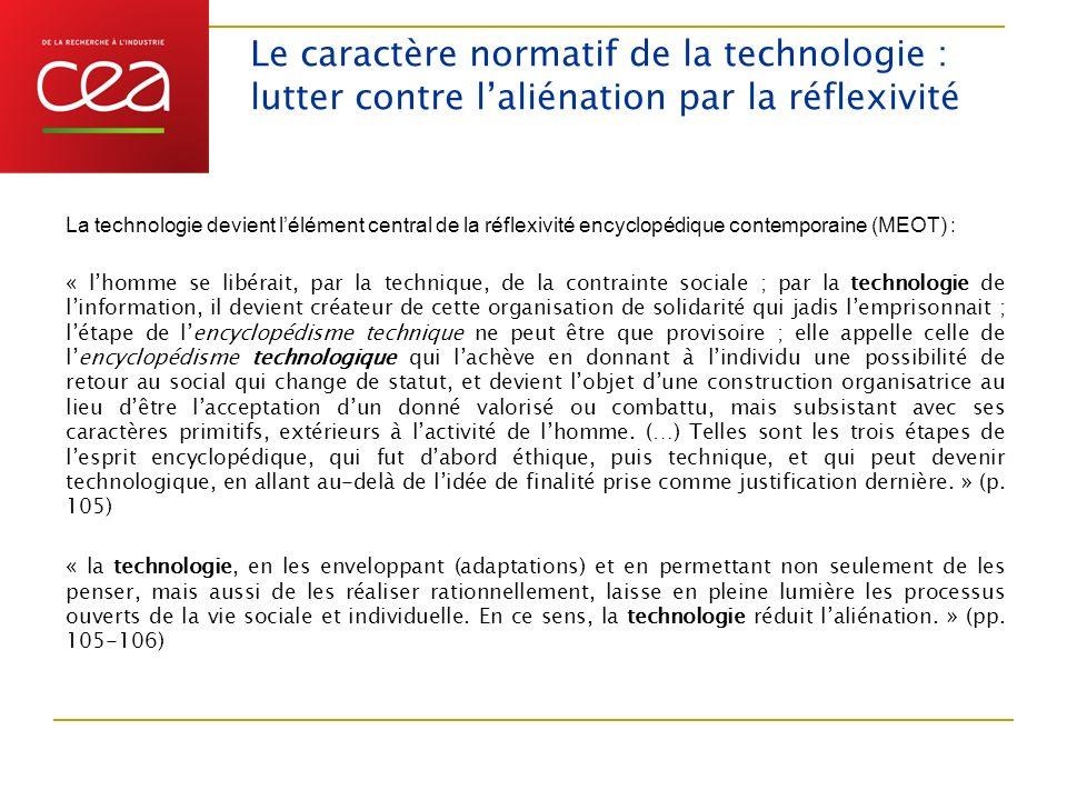 Le caractère normatif de la technologie : lutter contre l'aliénation par la réflexivité