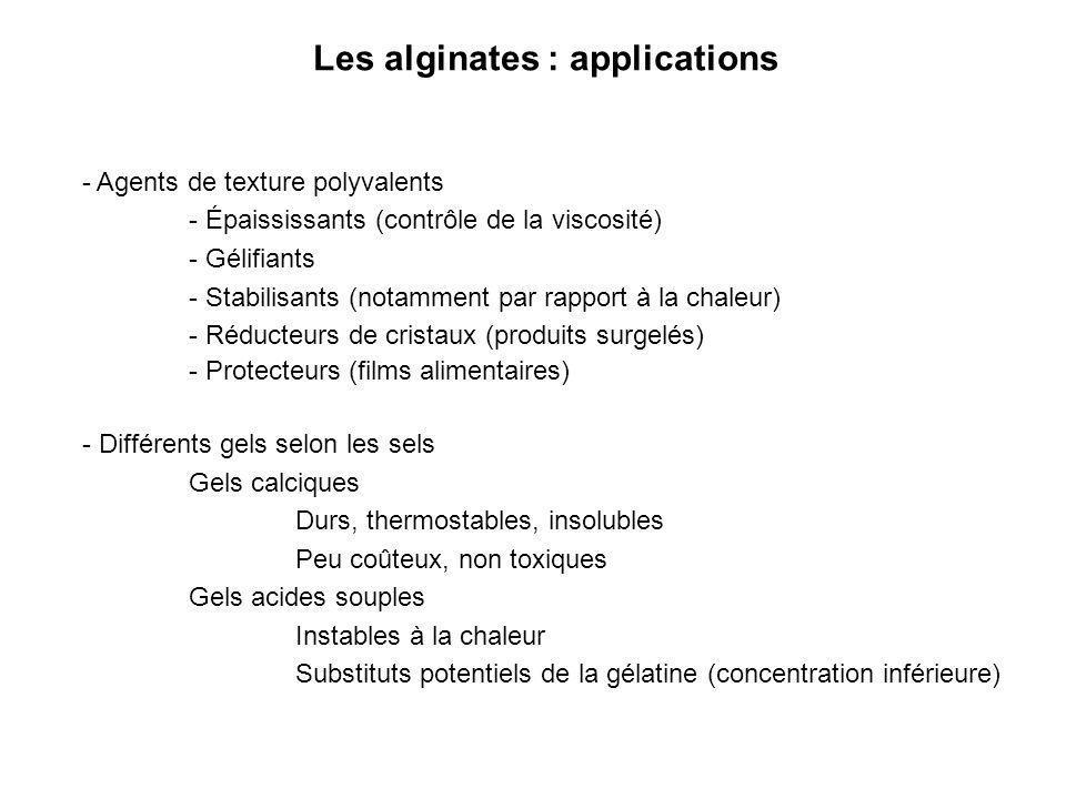Les alginates : applications
