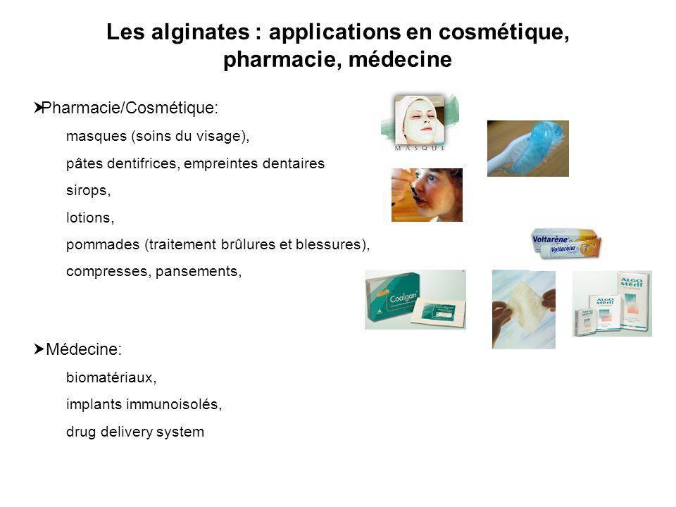 Les alginates : applications en cosmétique, pharmacie, médecine