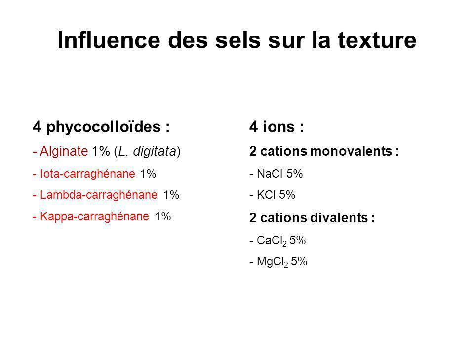 Influence des sels sur la texture