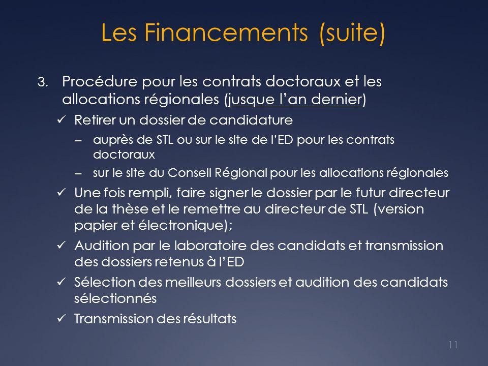 Les Financements (suite)