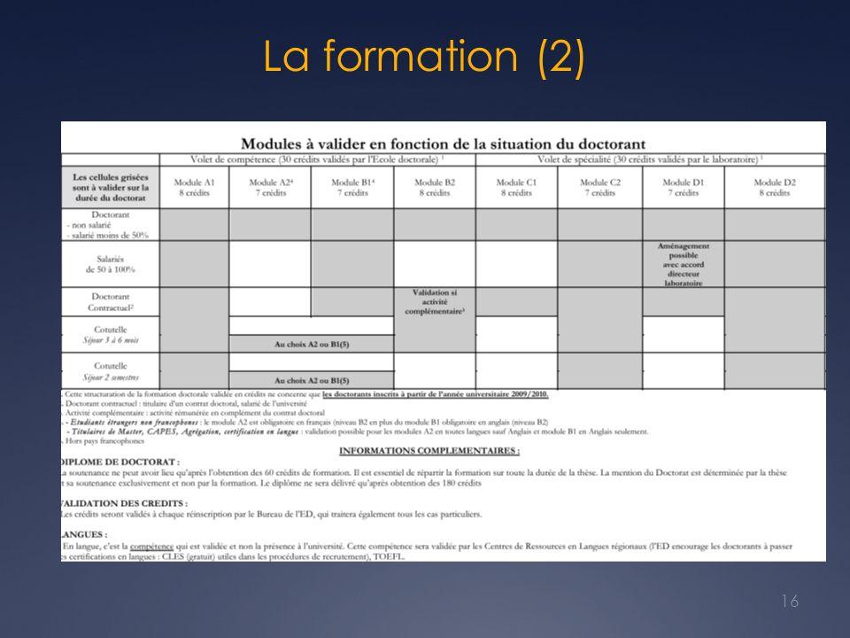 La formation (2) Tient compte du statut du doctorant