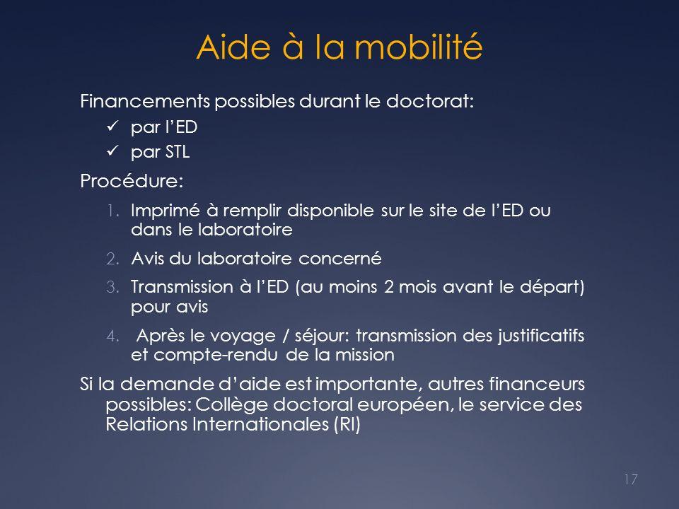 Aide à la mobilité Financements possibles durant le doctorat: