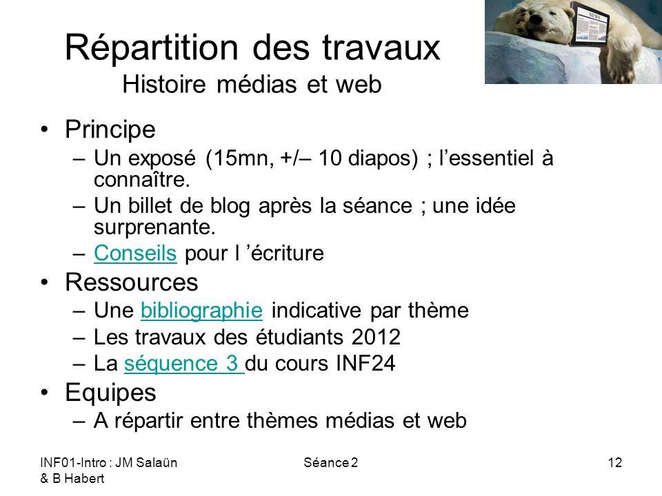 Répartition des travaux Histoire médias et web