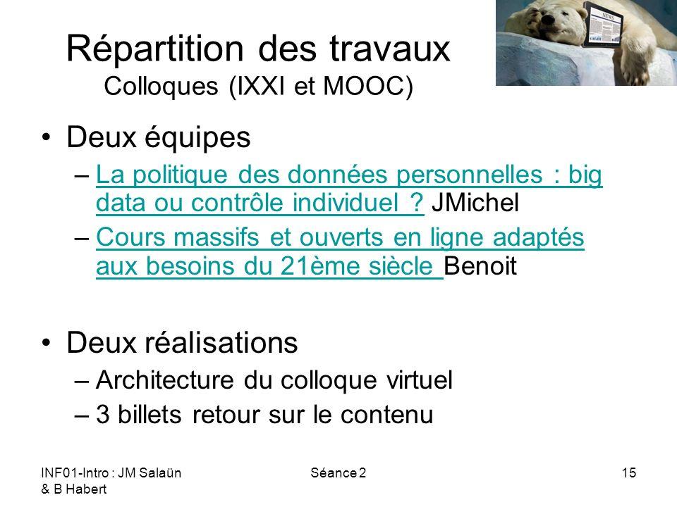 Répartition des travaux Colloques (IXXI et MOOC)