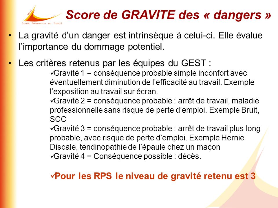 Score de GRAVITE des « dangers »