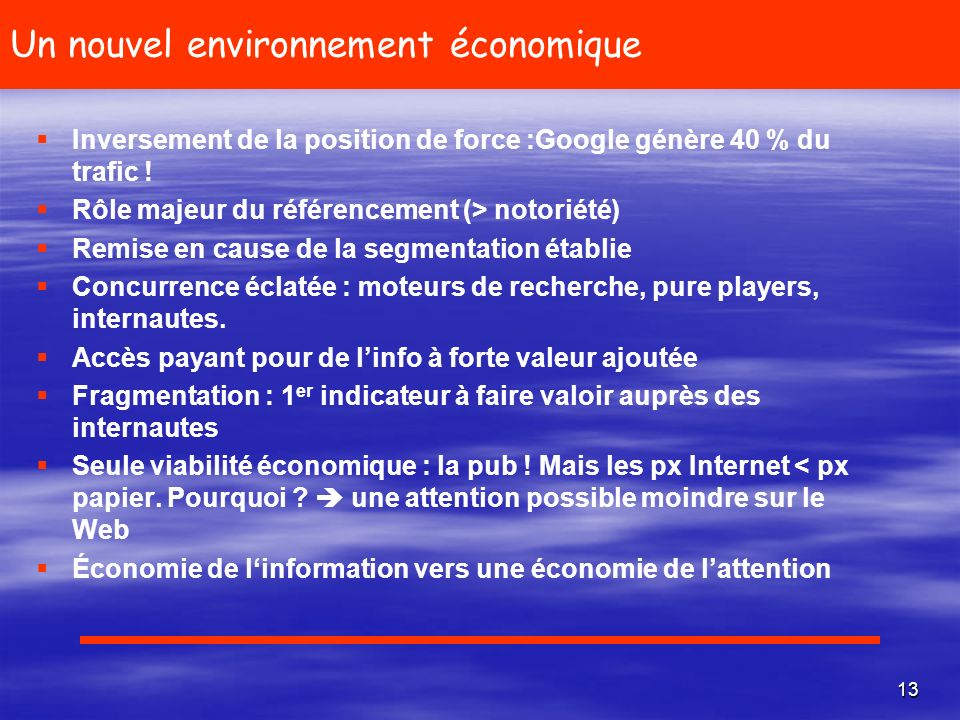 Un nouvel environnement économique