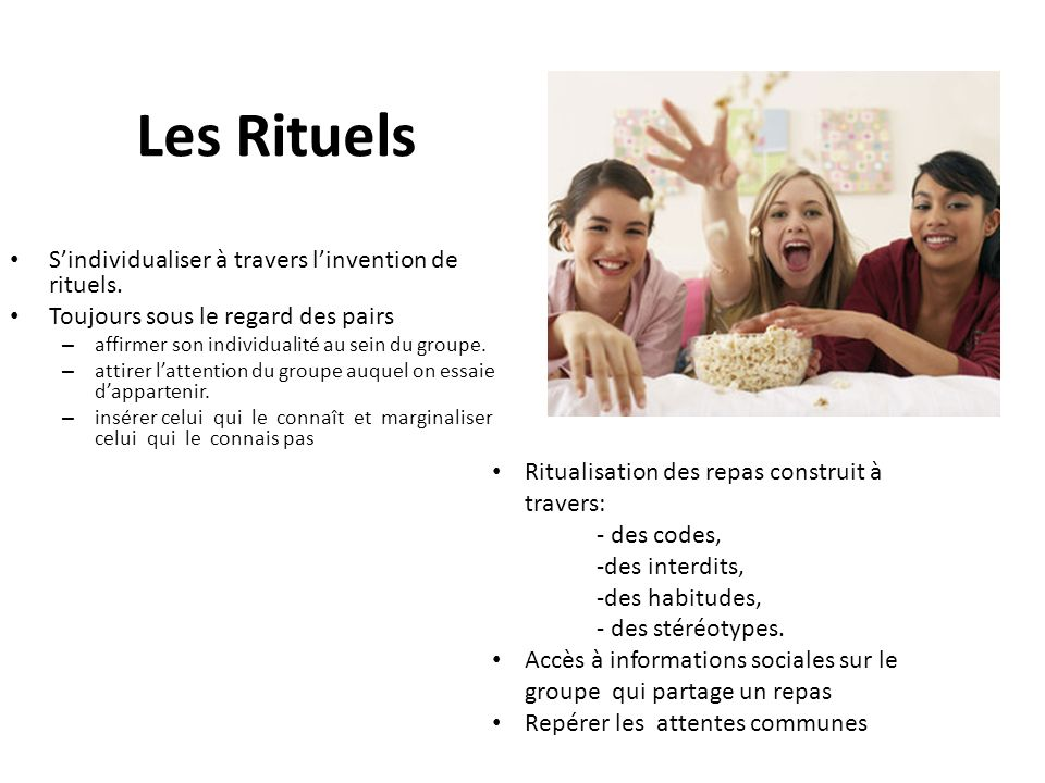 Les Rituels S'individualiser à travers l'invention de rituels.