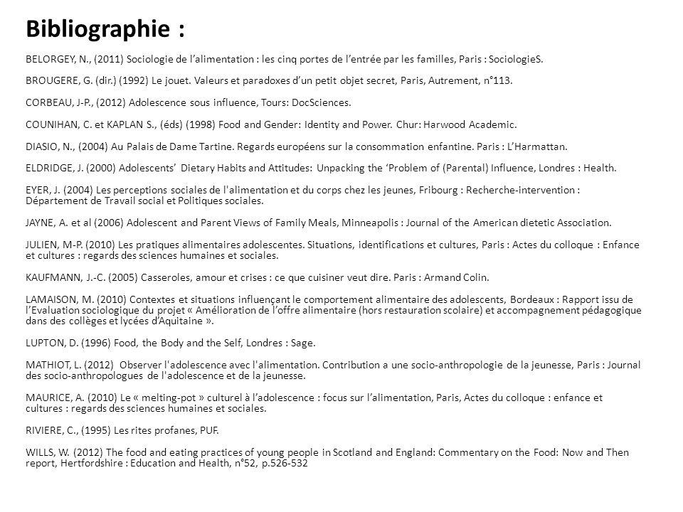 Bibliographie : BELORGEY, N., (2011) Sociologie de l'alimentation : les cinq portes de l'entrée par les familles, Paris : SociologieS.