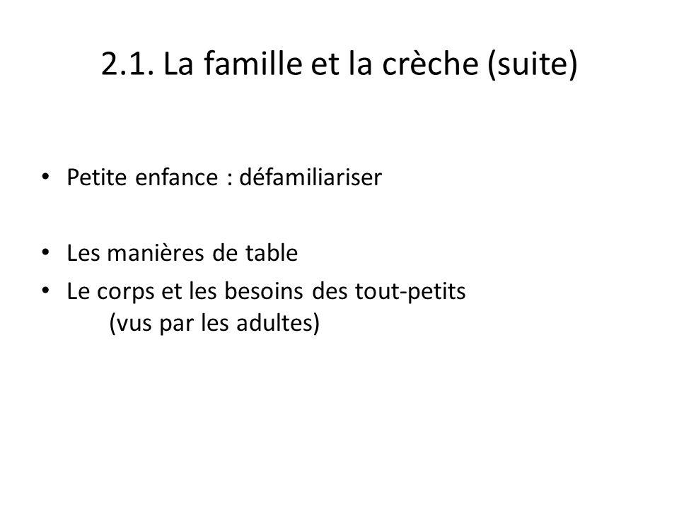 2.1. La famille et la crèche (suite)