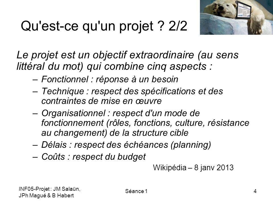 Qu est-ce qu un projet 2/2 Le projet est un objectif extraordinaire (au sens littéral du mot) qui combine cinq aspects :
