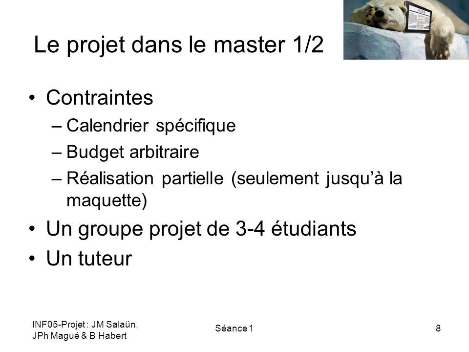 Le projet dans le master 1/2