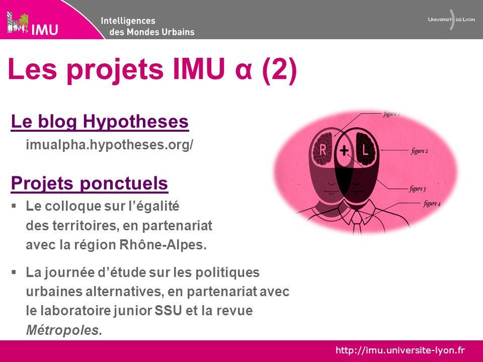 Les projets IMU α (2) Le blog Hypotheses Projets ponctuels