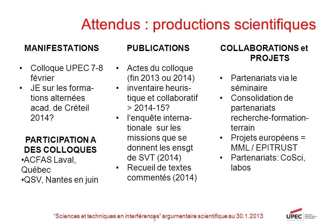 Attendus : productions scientifiques