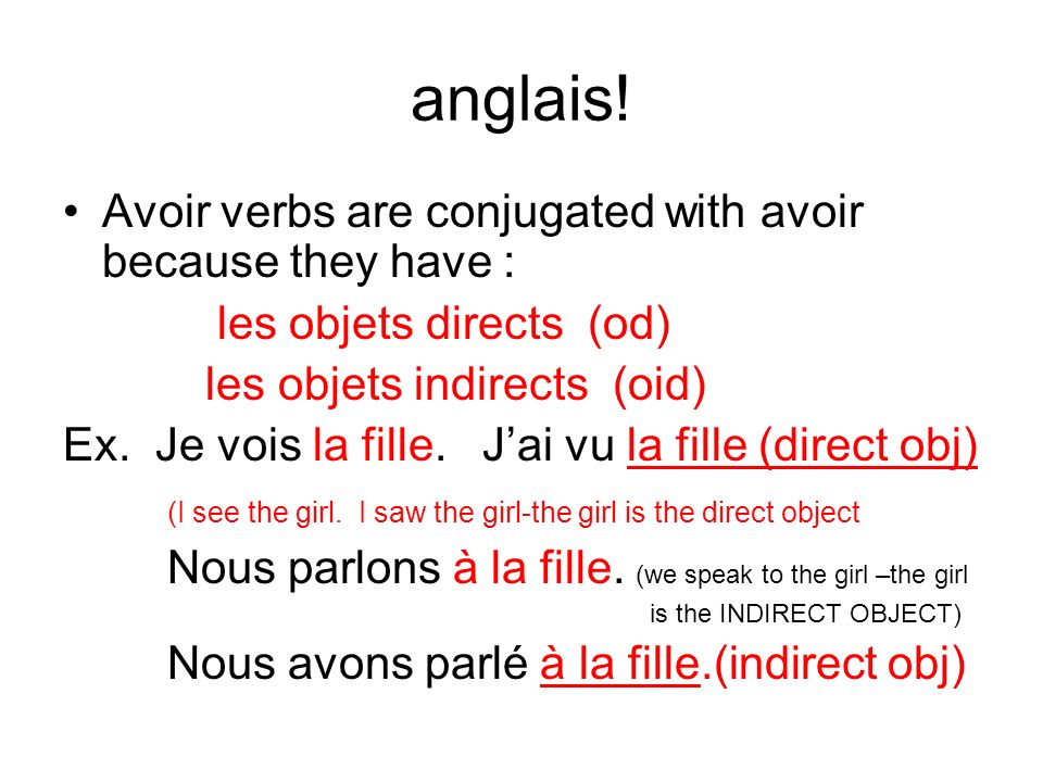 anglais! Avoir verbs are conjugated with avoir because they have :