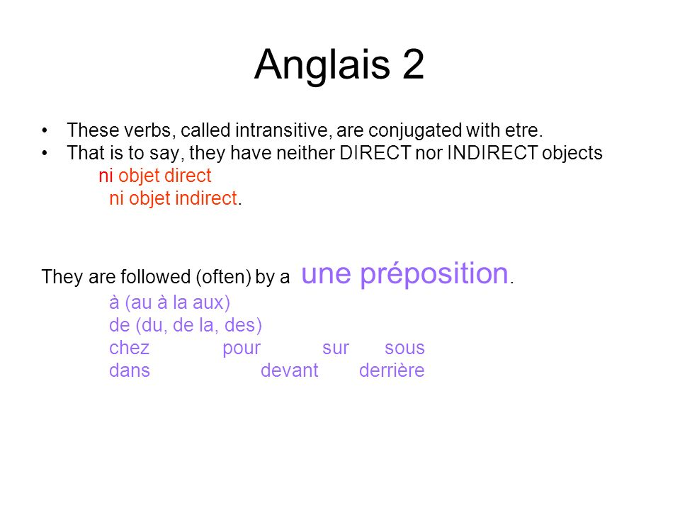Anglais 2 These verbs, called intransitive, are conjugated with etre.