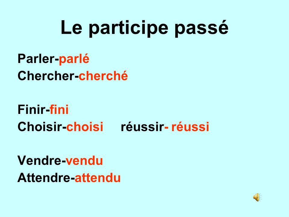 Le participe passé Parler-parlé Chercher-cherché Finir-fini