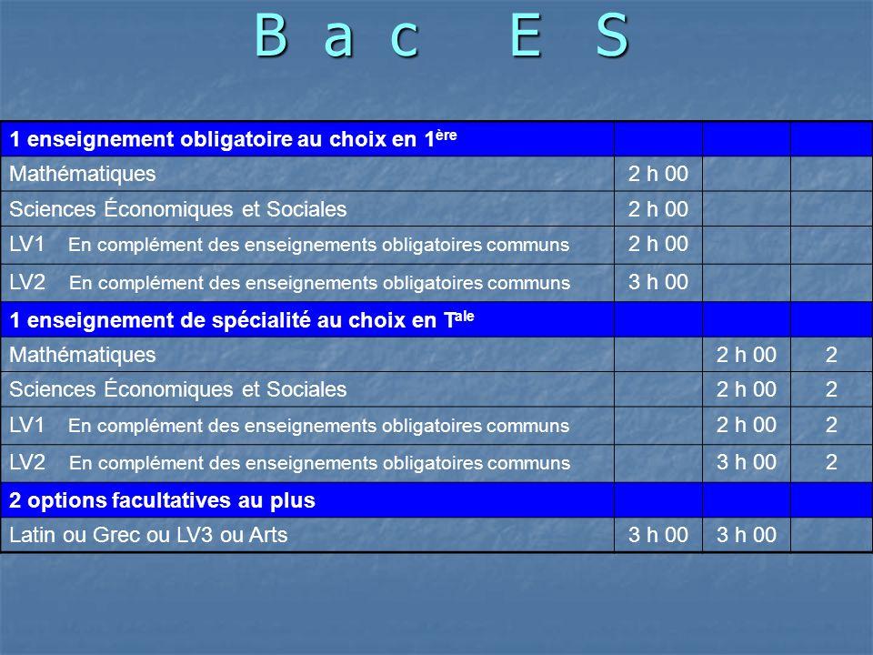 B a c E S 1 enseignement obligatoire au choix en 1ère Mathématiques