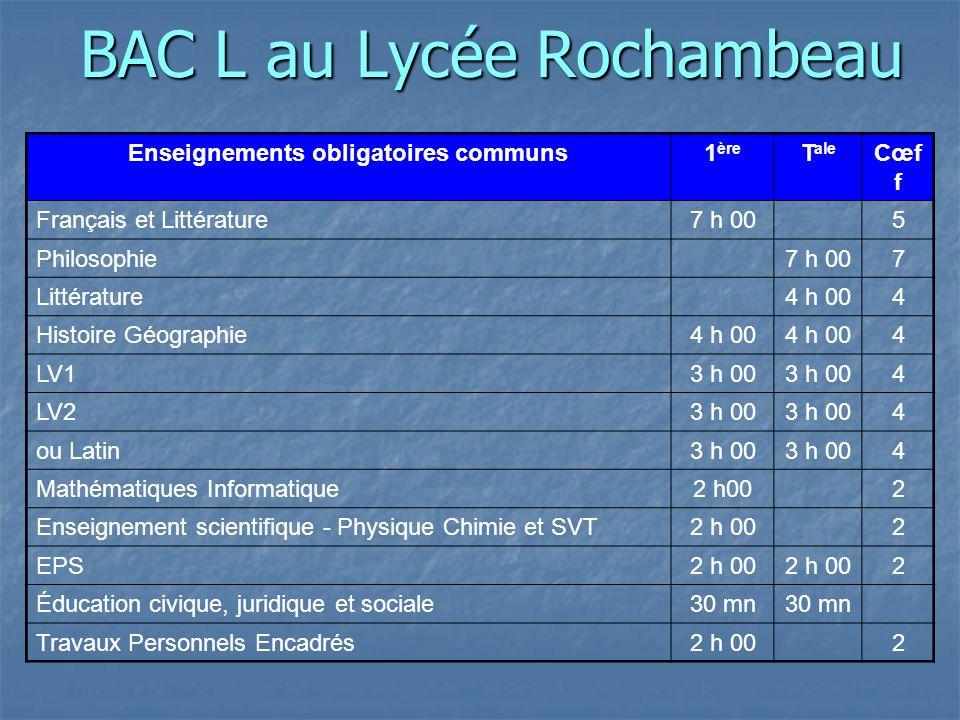 BAC L au Lycée Rochambeau