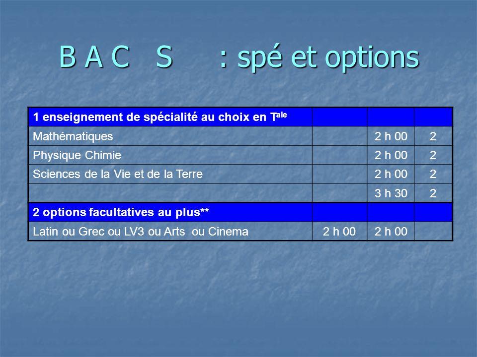 B A C S : spé et options 1 enseignement de spécialité au choix en Tale