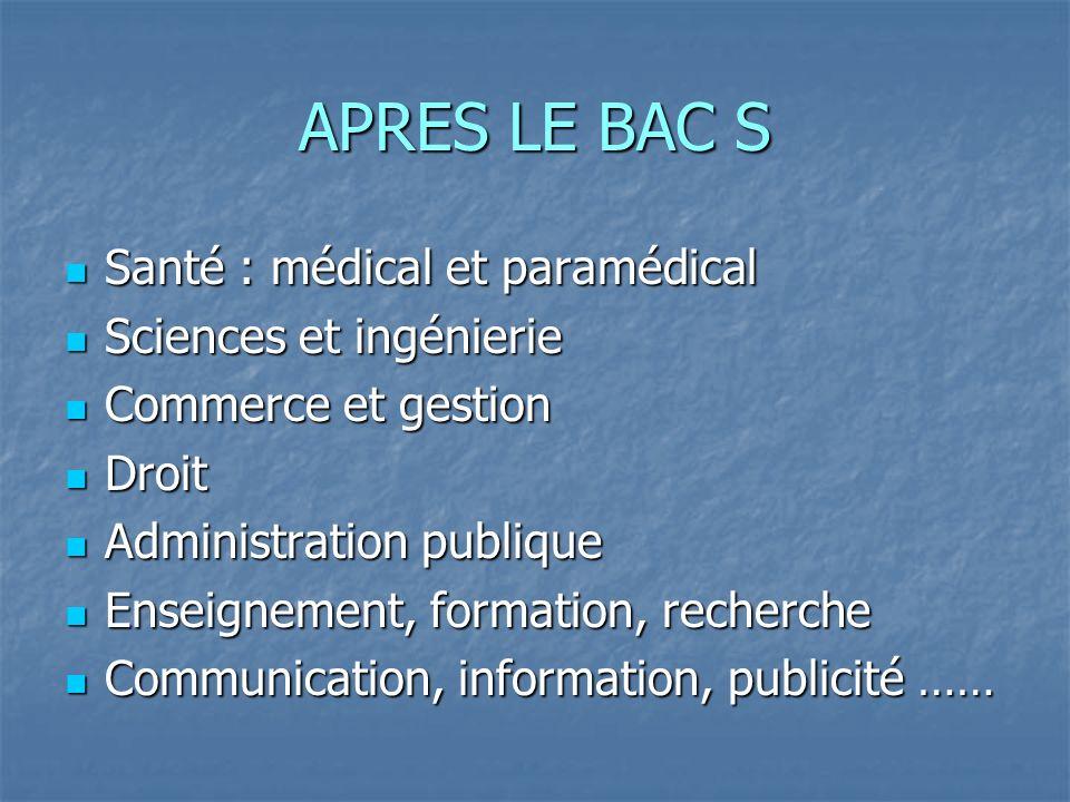 APRES LE BAC S Santé : médical et paramédical Sciences et ingénierie