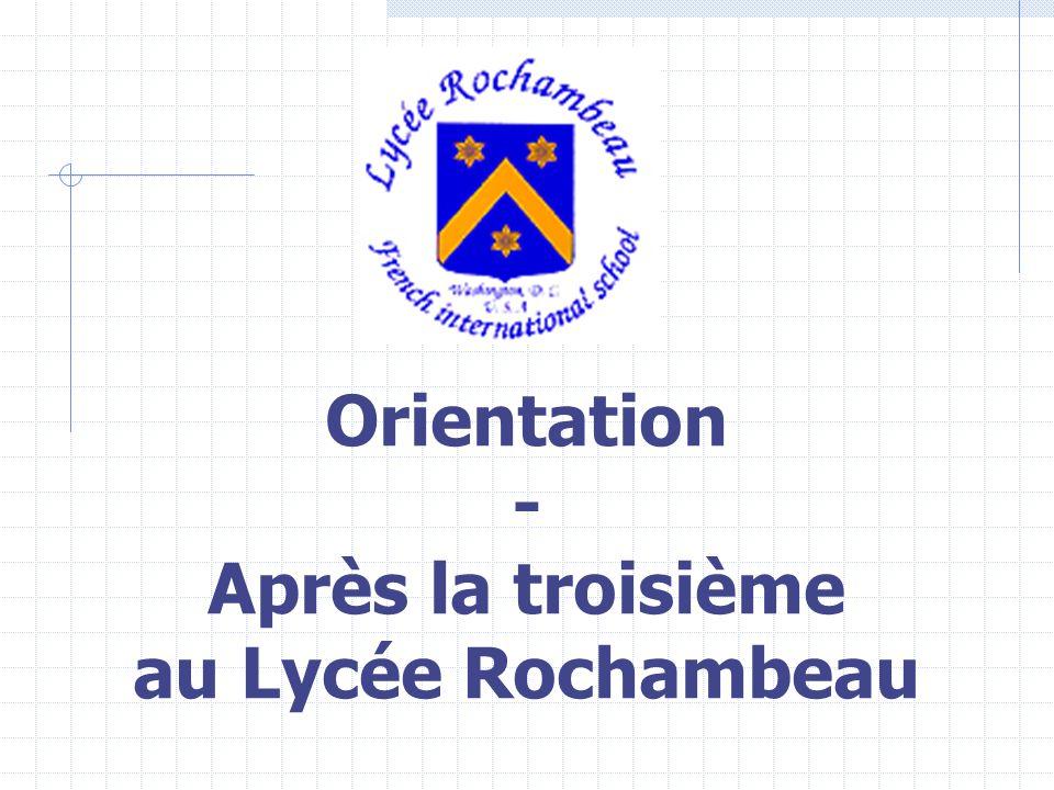 Orientation - Après la troisième au Lycée Rochambeau