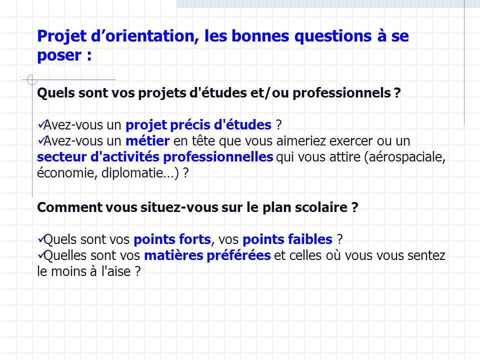Projet d'orientation, les bonnes questions à se poser :