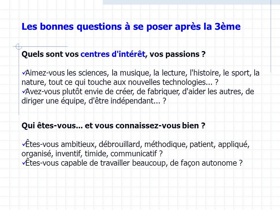 Les bonnes questions à se poser après la 3ème