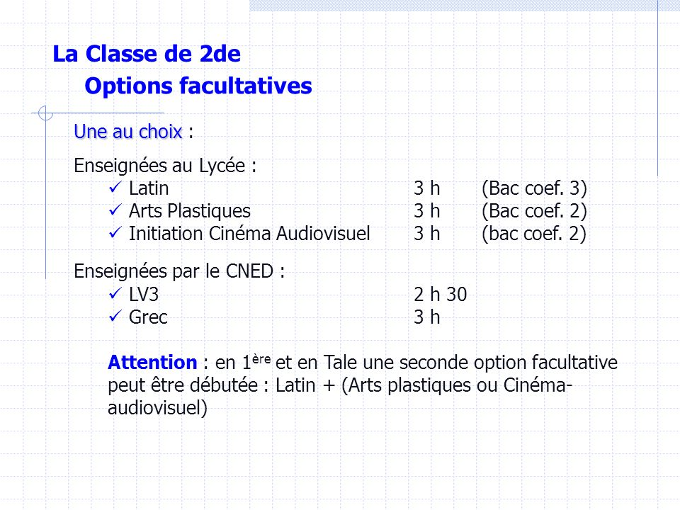La Classe de 2de Options facultatives Une au choix :