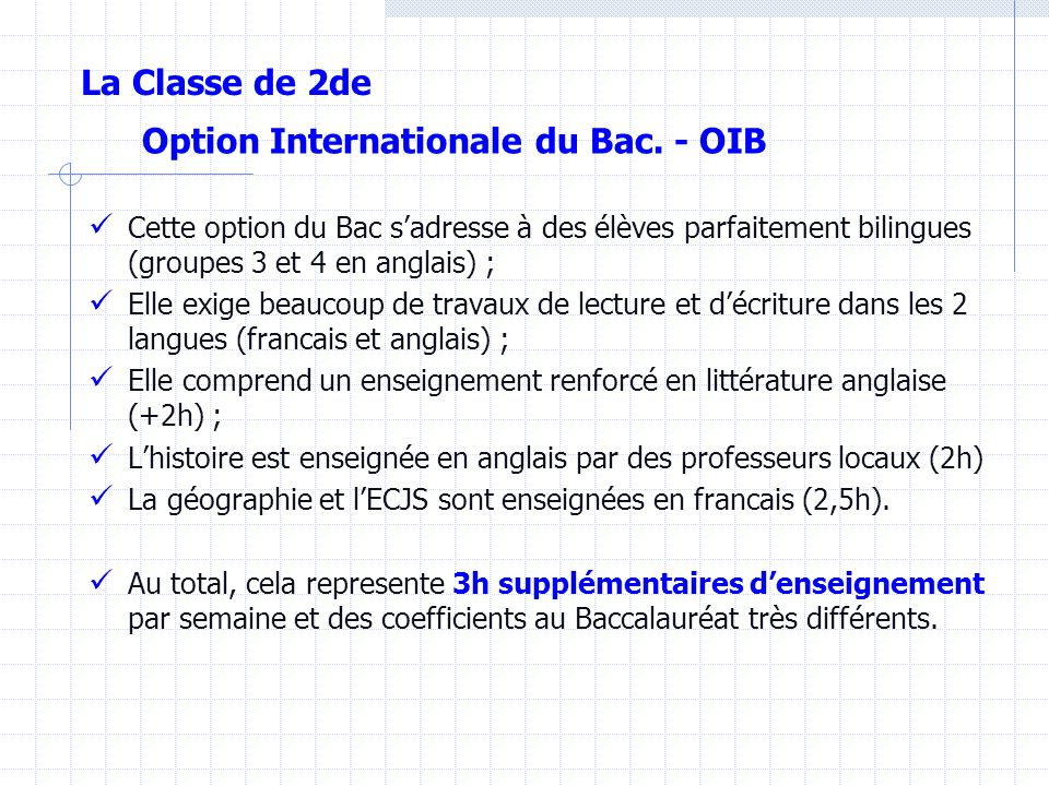Option Internationale du Bac. - OIB