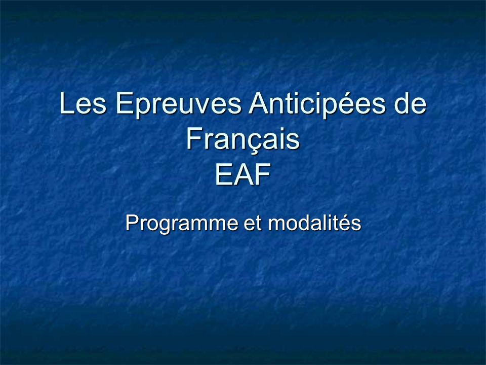 Les Epreuves Anticipées de Français EAF