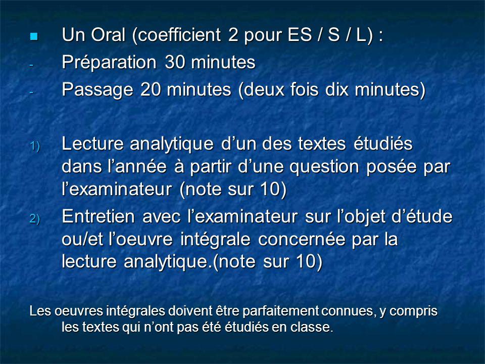 Un Oral (coefficient 2 pour ES / S / L) : Préparation 30 minutes