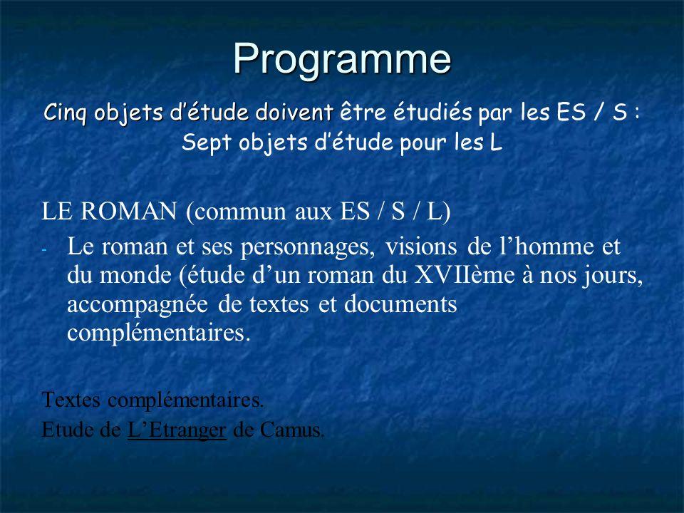 Programme LE ROMAN (commun aux ES / S / L)