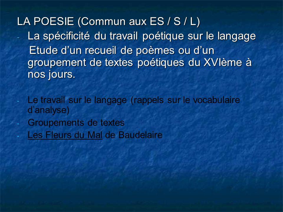 LA POESIE (Commun aux ES / S / L)