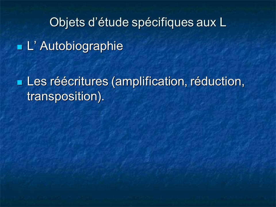 Objets d'étude spécifiques aux L