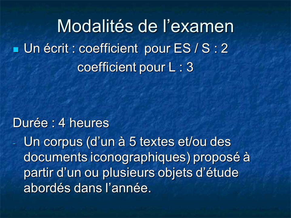 Modalités de l'examen Un écrit : coefficient pour ES / S : 2