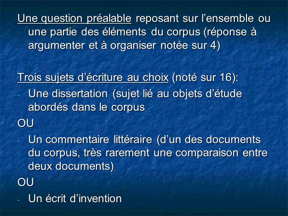 Une question préalable reposant sur l'ensemble ou une partie des éléments du corpus (réponse à argumenter et à organiser notée sur 4)