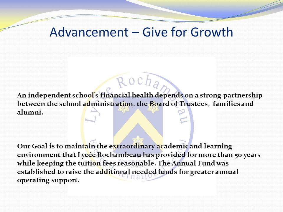 Advancement – Give for Growth