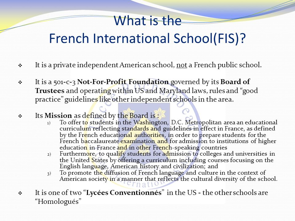 What is the French International School(FIS)
