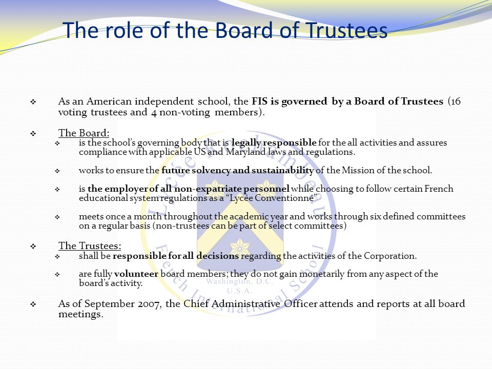 The role of the Board of Trustees