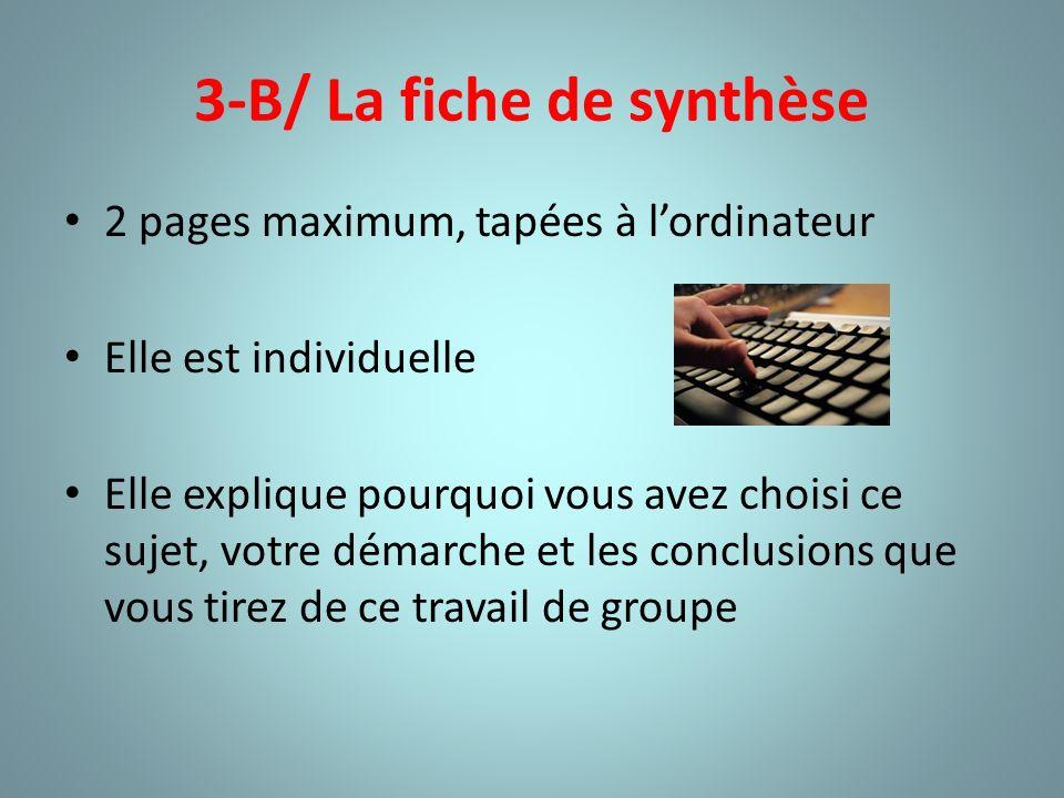 3-B/ La fiche de synthèse