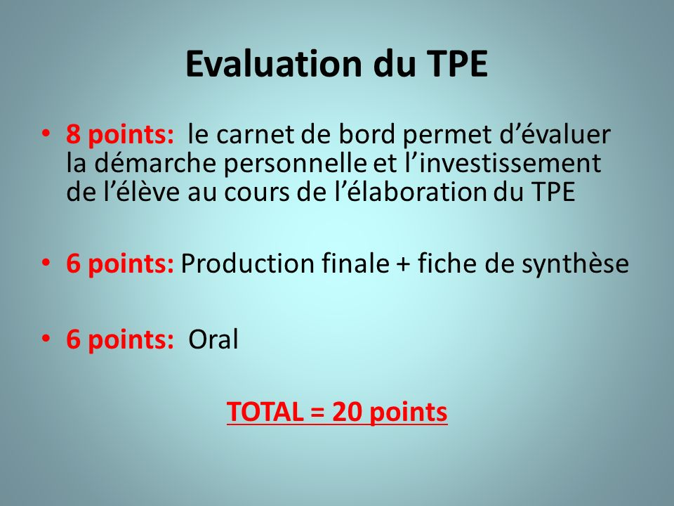 Evaluation du TPE