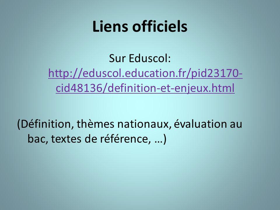 Liens officiels Sur Eduscol: http://eduscol.education.fr/pid23170-cid48136/definition-et-enjeux.html.