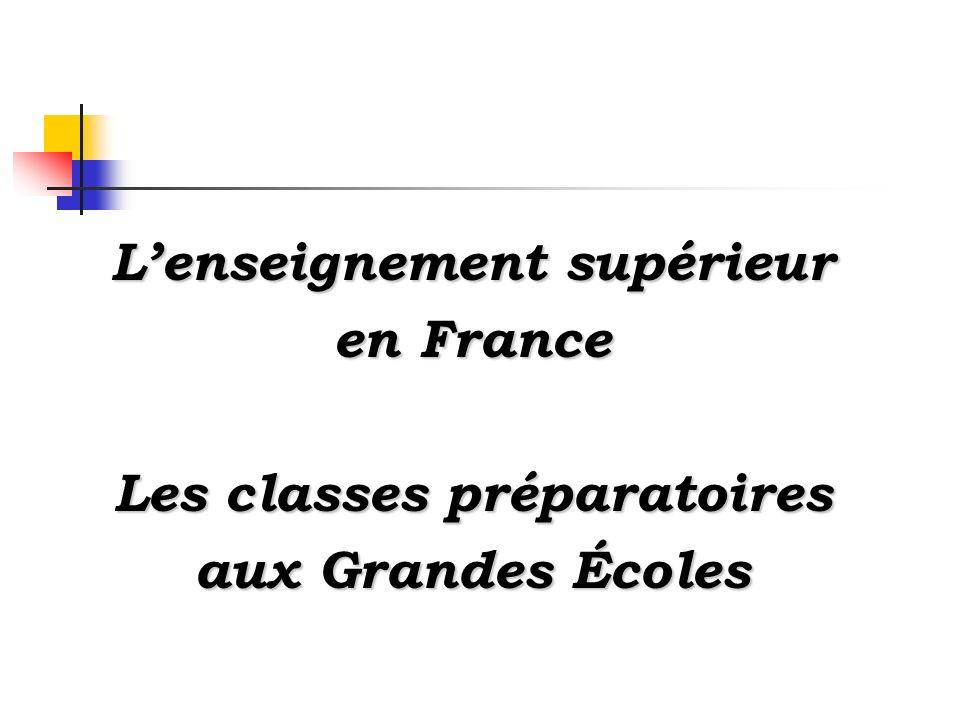 L'enseignement supérieur Les classes préparatoires