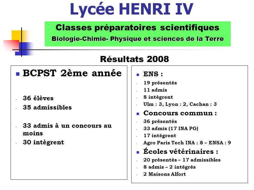 Lycée HENRI IV BCPST 2ème année Classes préparatoires scientifiques