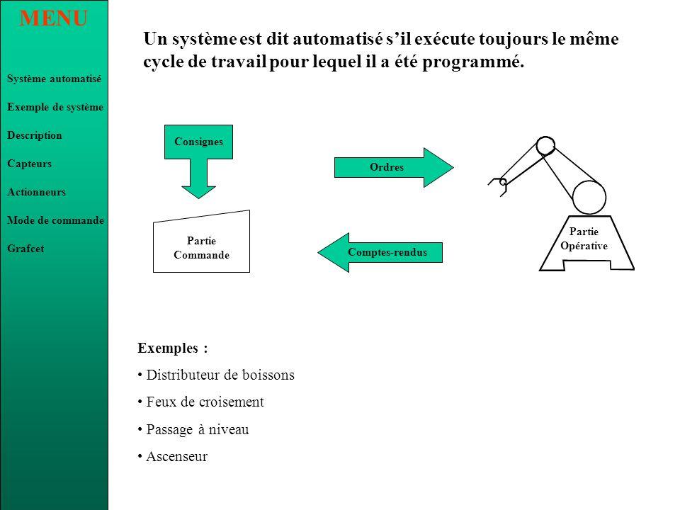 Un système est dit automatisé s'il exécute toujours le même cycle de travail pour lequel il a été programmé.